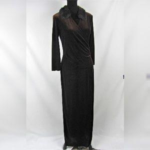 Patra Brown Velvet Maxi dress Fur Faux Wrap Sz 12